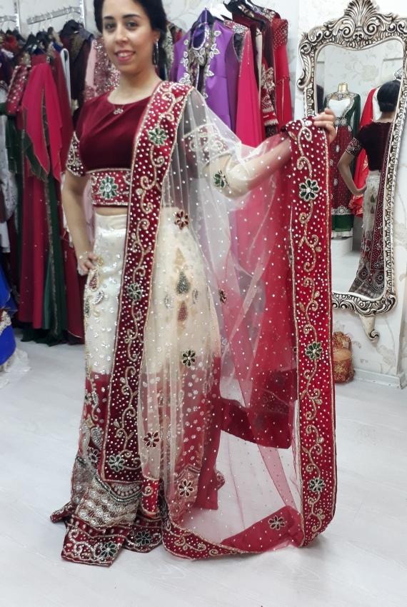 Kiralık Hint Elbisesi Bordo Krem