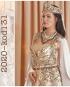 Gold Color Beaded By Hand White Velvet Caftan Enb-131