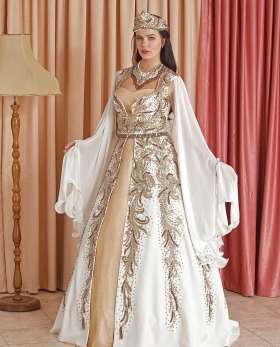 Gold Color Beaded By Hand White Velvet Caftan Enb-131